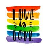 Homosexueller Stolz Text auf Regenbogenbeschaffenheit vektor abbildung