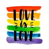 Homosexueller Stolz Text auf Regenbogenbeschaffenheit stock abbildung