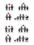 Homosexuelles, lesbische Paare und Familie mit Kindikone vektor abbildung