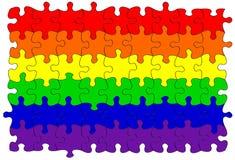 Homosexuelles Regenbogenmarkierungsfahnenpuzzlespiel/-tischlerbandsäge Lizenzfreies Stockbild