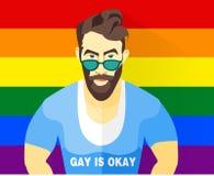 Homosexuellpaar-Vektorillustration Hübscher Junge im Hemd mit Aufschrifthomosexuellem ist okay Brothippie-Kerl Regenbogenstolzfla Stockbilder
