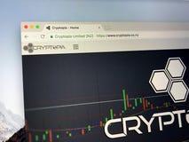Hompage de Cryptopia Imagem de Stock