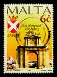 Hompesch båge och armar, Zabbar, tvåhundraårsdag av maltesisk stadsserie, circa 1997 Arkivfoto