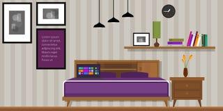 Homr interior de los muebles de la casa del vector del dormitorio ilustración del vector