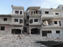 Homs city in Syria. A building devastated by war stock photos