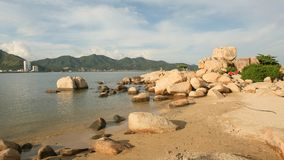 Hon崇公海角 在芽庄市的普遍的旅游目的地 越南 免版税库存照片
