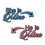 Hon är min, honom är den min vektordesignen stock illustrationer