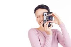 Hon gillar att fotografera. Royaltyfri Fotografi