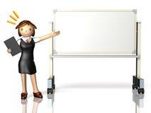Hon har en presentation, genom att använda en whiteboard. Arkivbild