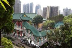 Hon Kong De tempel van de Zonde van Wong tai De mening van het landschap Stock Afbeelding