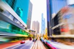 Hon Kong Tráfico abstracto del paisaje urbano con los coches móviles imagen de archivo