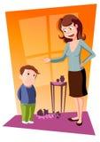 hon modern grälar på sonen royaltyfri illustrationer