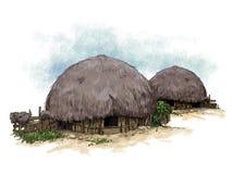 Honai är ett typisk hus av Papua Indonesien vektor illustrationer