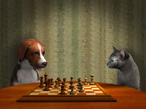 Hond Cat Play Chess Game Illustration Stock Foto's