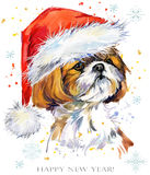 Hond in de waterverfillustratie van de santahoed De gelukkige kaart van de Nieuwjaargroet Het ontwerp van het het overhemdsmalpla royalty-vrije illustratie