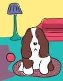 Hond in de woonkamer Royalty-vrije Stock Afbeelding