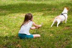Hond die bij Leiband trekt Royalty-vrije Stock Foto's