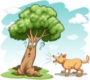 Hond die de boom ontschorsen Stock Fotografie