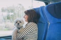 Hond die door trein met zijn eigenaar reizen stock fotografie