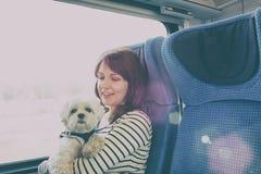 Hond die door trein reizen stock fotografie