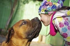 Hond die een meisje kussen Stock Foto