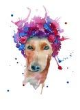 Hond in een kroon van bloemen watercolor Royalty-vrije Stock Afbeelding