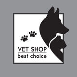 Hond en Cat Silhouettes. stock illustratie