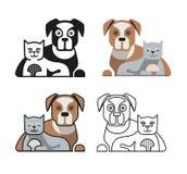Hond en Cat Together Stock Foto's