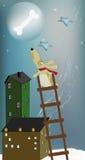 Hond en de maan stock illustratie