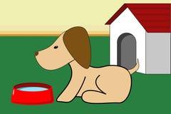 Hond en Dog-house Stock Afbeeldingen