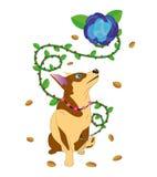 Hond en een bloem met doornen. Stock Afbeeldingen
