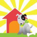 Hond en huis Stock Foto's