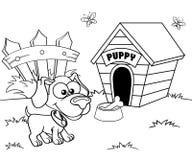 Hond en huis Stock Afbeeldingen
