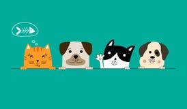 hond en katten beste vrienden royalty-vrije illustratie