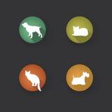 Hond en kattenreeks Het silhouet van het huisdierenpictogram voor vlak ontwerp Stock Afbeelding