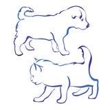 Hond en kattenschets van de silhouet de vectorillustratie Stock Afbeelding