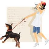 Hond en meisje Stock Afbeeldingen