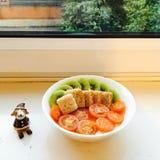 hond en ontbijt Royalty-vrije Stock Fotografie