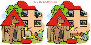 Hond en Trompet -10 verschillen Royalty-vrije Stock Afbeeldingen