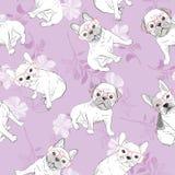 Hond Franse buldog Hartzonnebril Dit is dossier van EPS10-formaat het behangachtergrond van het illustratie naadloze patroon vector illustratie