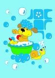 Hond het baden Stock Foto