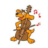 Hond het spelen cello vector illustratie