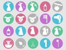 Hond het verzorgen geplaatste pictogrammen Stock Fotografie