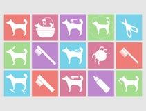 Hond het verzorgen geplaatste pictogrammen Royalty-vrije Stock Foto's