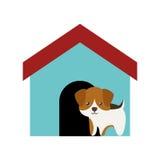 hond honds jong bevindend gekleurd huis vector illustratie