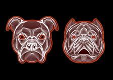 Hond hoofd lineair embleem Stock Afbeeldingen