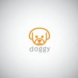 Hond Leuk Embleem Vectorillustratiemalplaatje Stock Fotografie