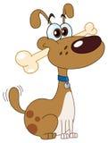 Hond met been royalty-vrije illustratie