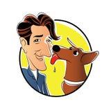 Hond met de illustratie van het eigenaarbeeldverhaal Stock Fotografie