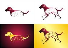 Hond met de tekst van 2018 royalty-vrije illustratie